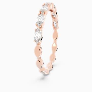 Prsten Vittore s kameny ve tvaru zašpičatělého oválu, bílý, pozlacený růžovým zlatem - Swarovski, 5366573