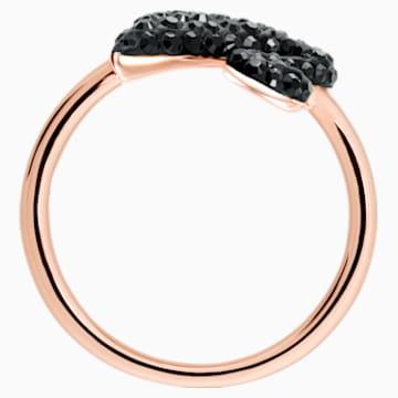 Swarovski Iconic Swan Ring, schwarz, Rosé vergoldet - Swarovski, 5366574
