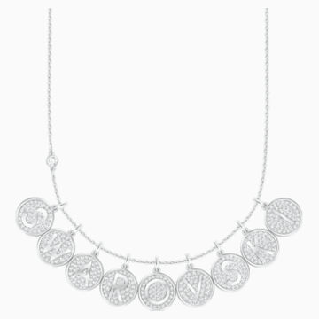 Pendentif Letter R, blanc, métal rhodié - Swarovski, 5367209