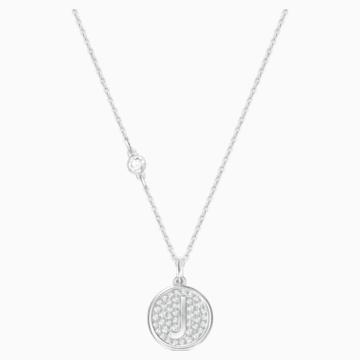 Pendentif Letter J, blanc, métal rhodié - Swarovski, 5367210