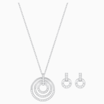 Circle Set, Medium, White, Rhodium plating - Swarovski, 5367727