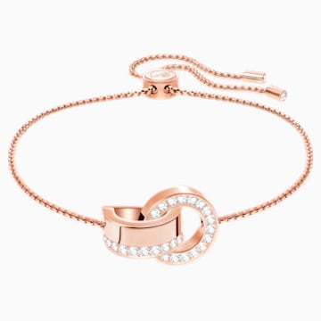 Hollow-armband, Wit, Roségoudkleurige toplaag - Swarovski, 5368040