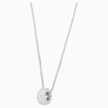 Pendentif Stone Round, blanc, Métal rhodié - Swarovski, 5368042