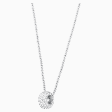 Stone Round 鏈墜, 白色, 鍍白金色 - Swarovski, 5368042