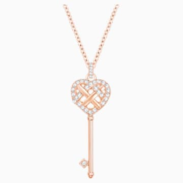 Greeting Key Pendant, White, Rose-gold tone plated - Swarovski, 5368100