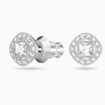 Angelic Square İğneli Küpeler, Beyaz, Rodyum kaplama - Swarovski, 5368146