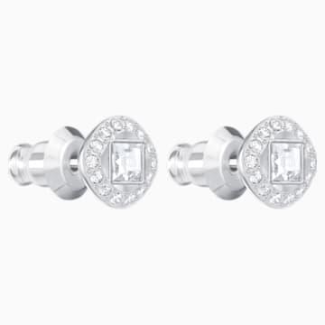 Angelic Square 穿孔耳環, 白色, 鍍白金色 - Swarovski, 5368146