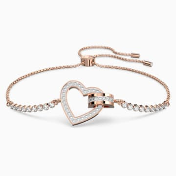 Lovely Bracelet, White, Rose-gold tone plated - Swarovski, 5368541
