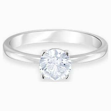 Prsten Attract, Bílý, Rhodiem pokovený - Swarovski, 5368542