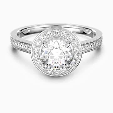 Anello Attract Round, bianco, Placcatura rodio - Swarovski, 5368545