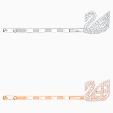 Iconic Swan Bobby Pin Set, White, Mixed plating - Swarovski, 5369577