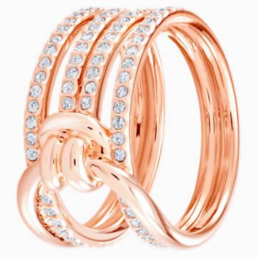 Široký prsten Lifelong, bílý, pozlacený růžovým zlatem - Swarovski, 5369797