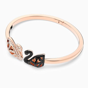 Facet Swan Bangle, Multi-colored, Mixed metal finish - Swarovski, 5372919
