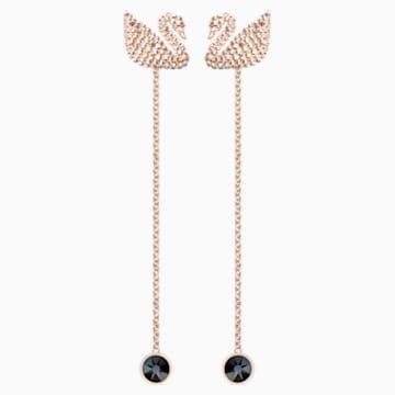 Swarovski Iconic Swan 穿孔耳环, 咖啡色, 镀玫瑰金色调 - Swarovski, 5373164