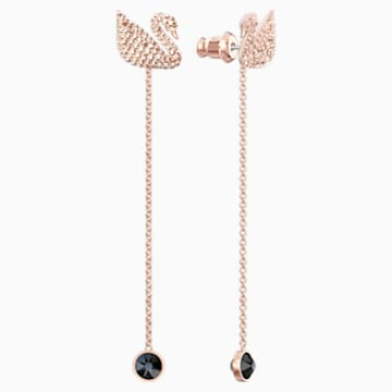 Swarovski Iconic Swan Pierced Earrings, Brown, Rose-gold tone plated - Swarovski, 5373164
