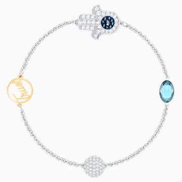 Swarovski Remix Collection Hamsa Hand Strand, bleu, Finition mix de métal - Swarovski, 5373249