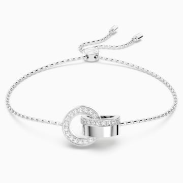 Hollow Bracelet, White, Rhodium plating - Swarovski, 5373969