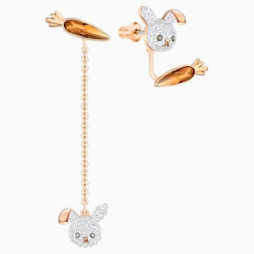 Little Bunny Pierced Earrings, Multi-colored, Rose-gold tone plated - Swarovski, 5374445