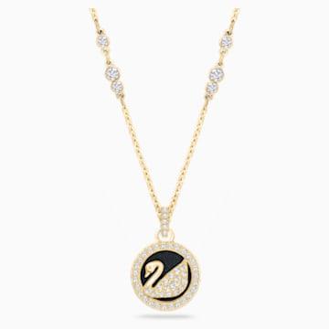 Leather Swan 鏈墜, 白色, 鍍金色色調 - Swarovski, 5374919