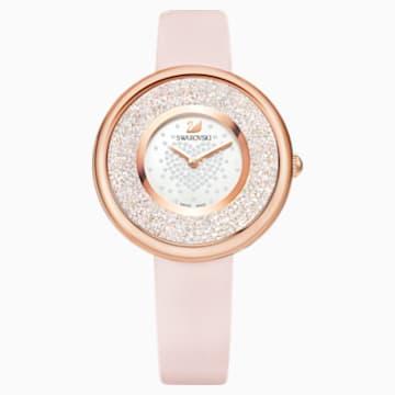 Hodinky Crystaline Pure s koženým páskem, růžové, PVD v odstínu růžového zlata - Swarovski, 5376086