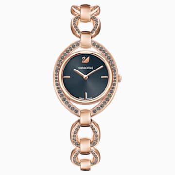 Stella 腕表, 金属手链, 深灰色, 玫瑰金色调 PVD - Swarovski, 5376806