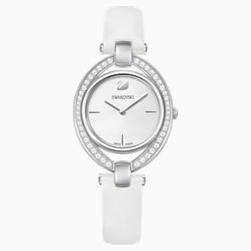 Stella 手錶, 真皮錶帶, 白色, 不銹鋼 - Swarovski, 5376812