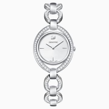 Stella 手錶, 金屬手鏈, 白色, 不銹鋼 - Swarovski, 5376815