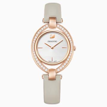 Stella 手錶, 真皮錶帶, 灰色, 玫瑰金色調PVD - Swarovski, 5376830
