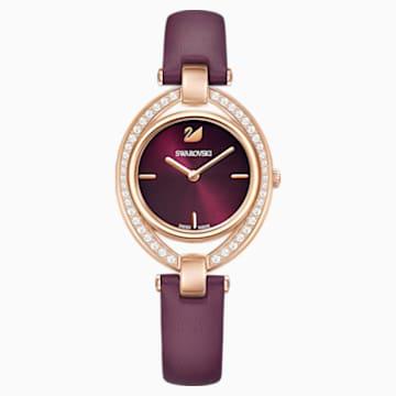 Orologio Stella, Cinturino in pelle, rosso scuro, PVD oro rosa - Swarovski, 5376839