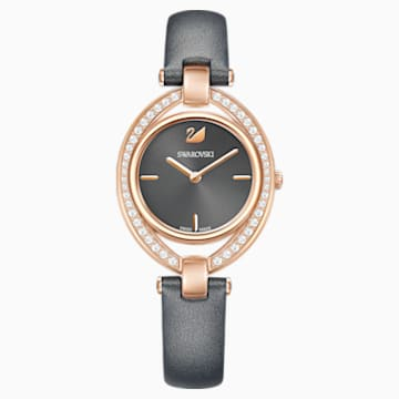 Stella Watch, Leather strap, Dark grey, Rose-gold tone PVD - Swarovski, 5376842