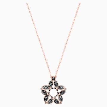 Fiancé Butterfly 項鏈, 黑色, 鍍玫瑰金色調 - Swarovski, 5376935