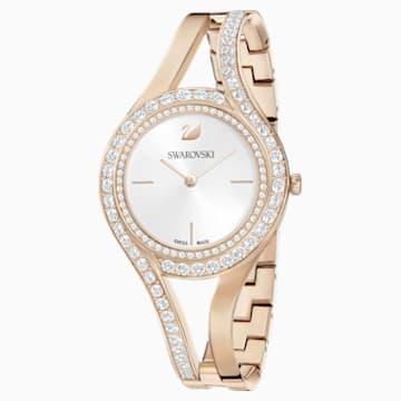 Orologio Eternal, Bracciale di metallo, bianco, PVD tonalità oro champagne - Swarovski, 5377563