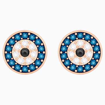 Luckily Evil Eye İğneli Küpeler, Mavi, Pembe altın rengi kaplama - Swarovski, 5377720