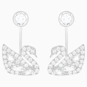 Pendientes Ear Jacket Swan Lake, blanco, Baño de Rodio - Swarovski, 5379944