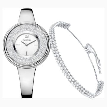 Crystalline Pure Set, White, Silver tone - Swarovski, 5380026