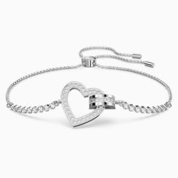 Lovely-armband, Wit, Rodium-verguld - Swarovski, 5380704