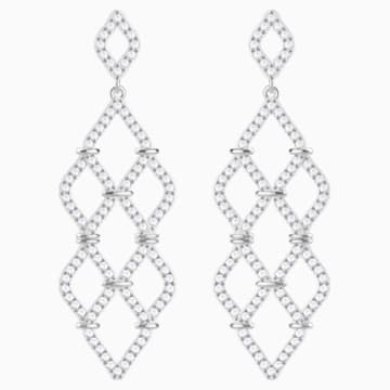 Lace Chandelier Pierced Earrings, White, Rhodium plated - Swarovski, 5382358