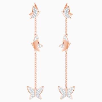 Lilia Pierced Earrings, White, Rose-gold tone plated - Swarovski, 5382364