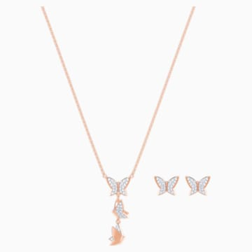Lilia Set, White, Rose-gold tone plated - Swarovski, 5382365