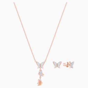 Sada Lilia, bílá, pozlacená růžovým zlatem - Swarovski, 5382365