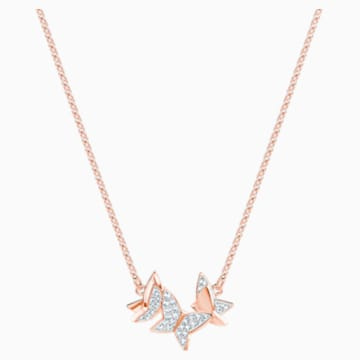 Lilia Necklace, White, Rose-gold tone plated - Swarovski, 5382366