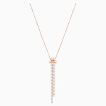 Pendentif en Y Lifelong, blanc, Métal doré rose - Swarovski, 5390817