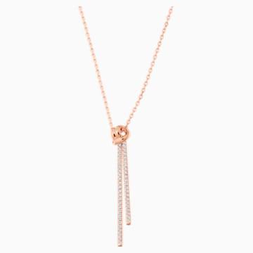 Lifelong Y Pendant, White, Rose-gold tone plated - Swarovski, 5390817