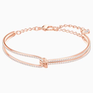 Bracelet-jonc Lifelong, blanc, Métal doré rose - Swarovski, 5390818