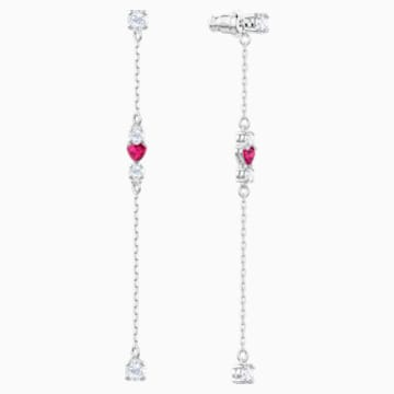 Love Pierced Earrings, White, Rhodium plated - Swarovski, 5391764