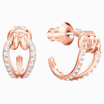 Lifelong Hoop Pierced Earrings, White, Rose-gold tone plated - Swarovski, 5392920