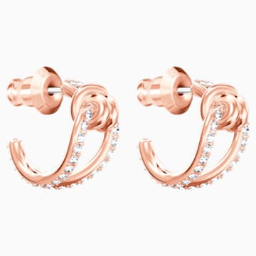 Lifelong Hoop Pierced Earrings, White, Rose-gold tone plated - Swarovski, 5392920