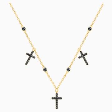 Girocollo Mini Cross, grigio, placcatura oro - Swarovski, 5395809