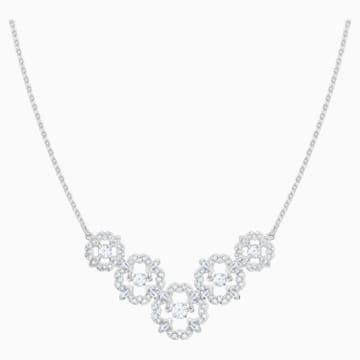 Sparkling Dance Flower 項鏈, 白色, 鍍白金色 - Swarovski, 5397240