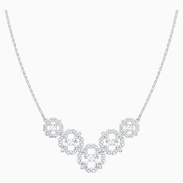 Sparkling Dance Flower Necklace, White, Rhodium plated - Swarovski, 5397240